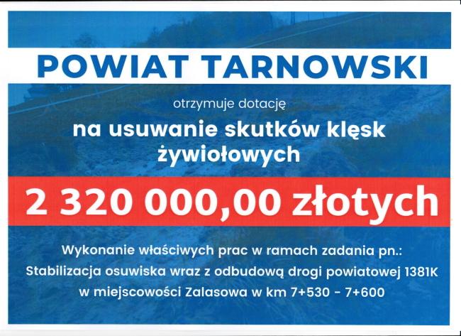 Ponad 2 miliony złotych dla Powiatu Tarnowskiego na usuwanie skutków klęsk żywiołowych