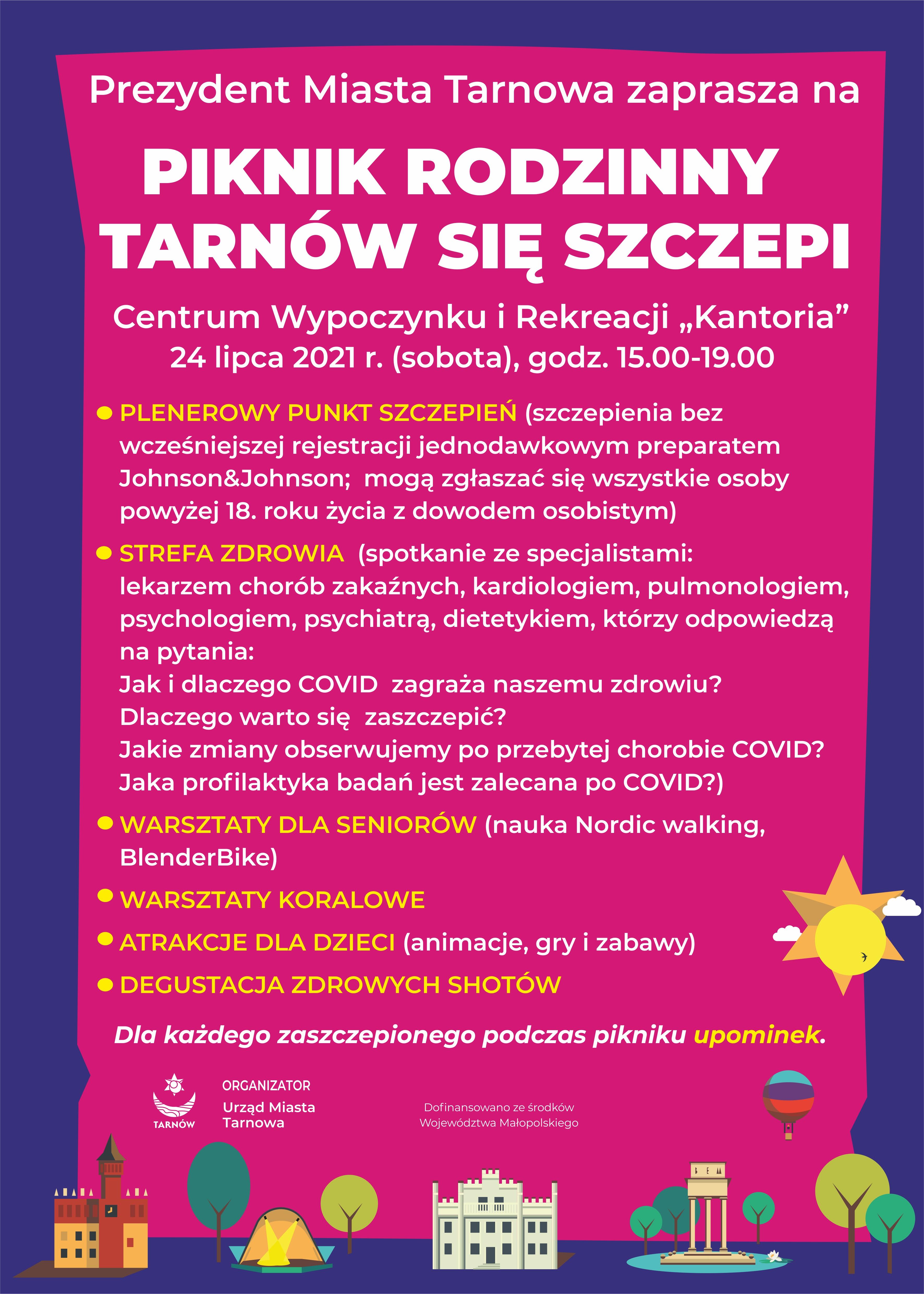 """Miasto Tarnów. PIKNIK """"TARNÓW SIĘ SZCZEPI"""""""