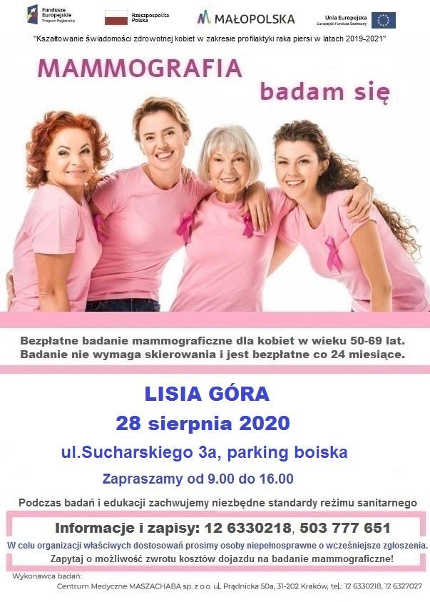Gmina Lisia Góra. Bezpłatne badania mammograficzne Projekt UE MMG