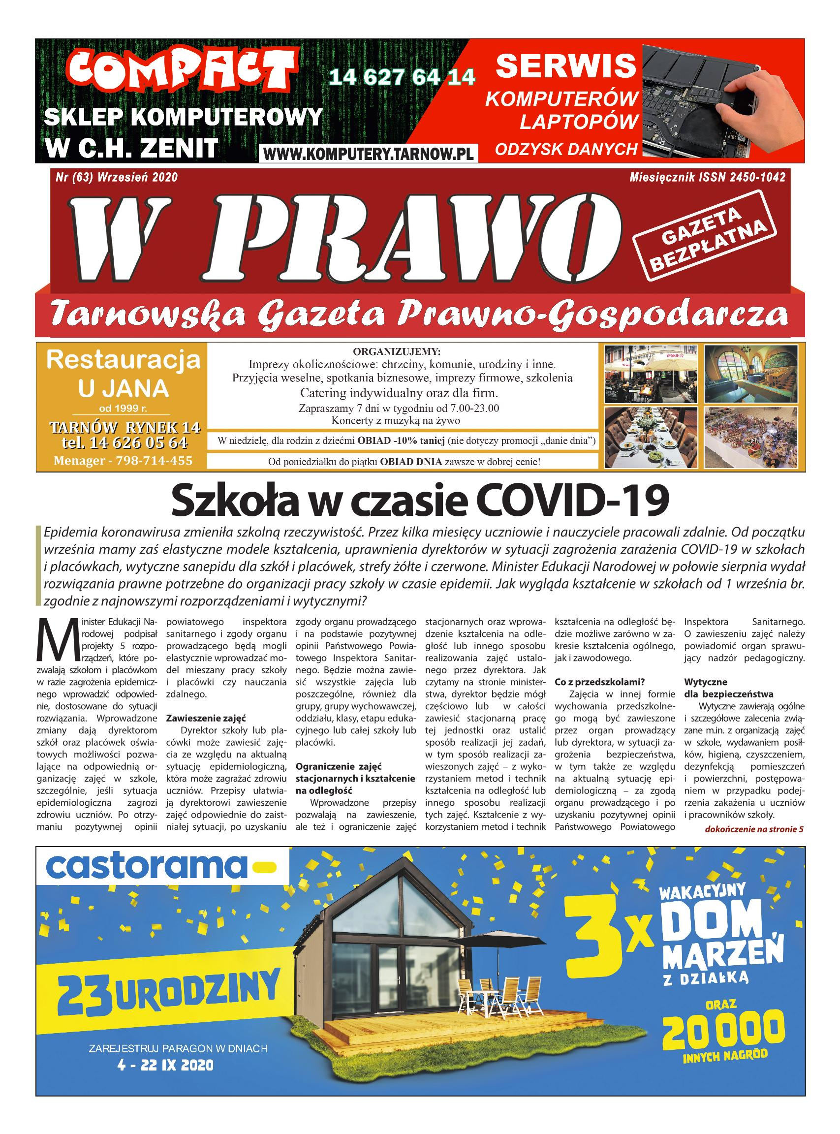 Najnowszy numer Tarnowskiej Gazety Prawno - Gospodarczej W PRAWO w dniu dzisiejszym jest dystrybuowany na obszarze.. ziemi tarnowskiej.